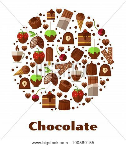 Desserts and delicacies, chocolate food round sign