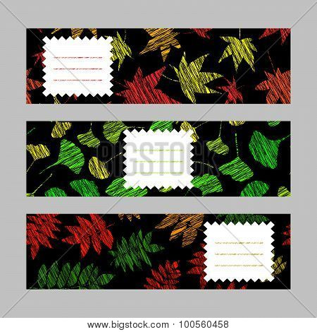 Set of horizontal autumn banners. Harvest berry ornament. Vector Illustration.