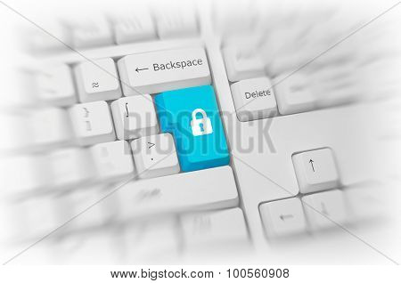 Padlock icon on a colorful turquoise blue computer key on a white keyboard with blur and selective focus conceptual of online safety, security and privacy, close up high angle view. 3d Rendering.