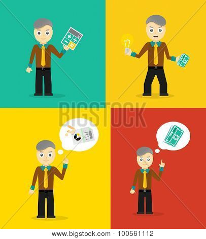 Set of cute cartoon young businessmen. Idea concept and finance report graph. flat design