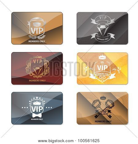 VIP club members only premium cards vector set