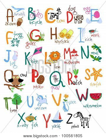 Hand drawn kids alphabet