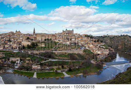 View Of Toledo From The Opposite Bank Of The River Tajo, Castilla La Mancha, Spain