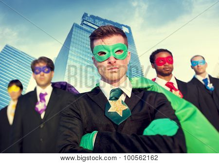 Superhero Business People Strength Cityscape Concept