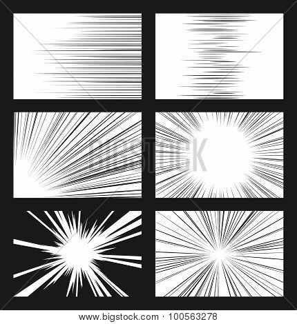 Comic horizontal and radial speed lines vector set