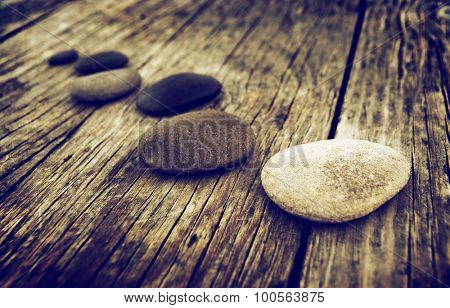 Stones Wooden Table Group of Objects Concept