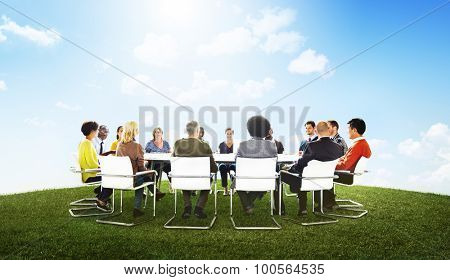 Group of Multiethnic People Outdoors in a Meeting Concept