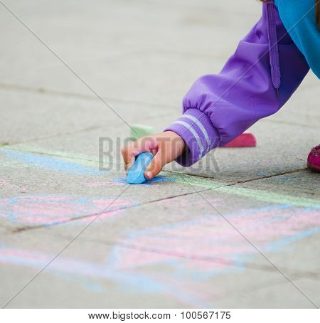 Child Hand With Chalk