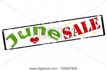 Rubber stamp with text June sale inside vector illustration