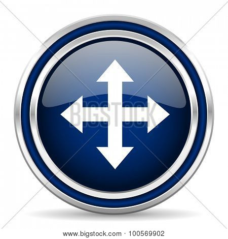 arrow blue glossy web icon modern computer design with double metallic silver border on white background with shadow for web and mobile app round internet button for business usage