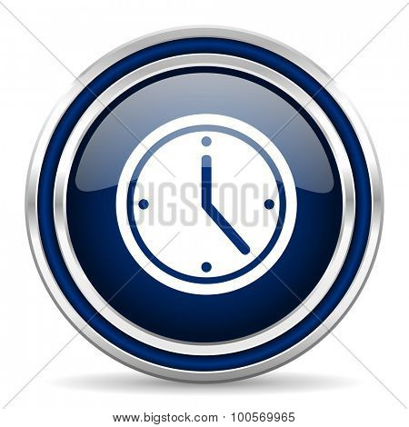 time blue glossy web icon modern computer design with double metallic silver border on white background with shadow for web and mobile app round internet button for business usage