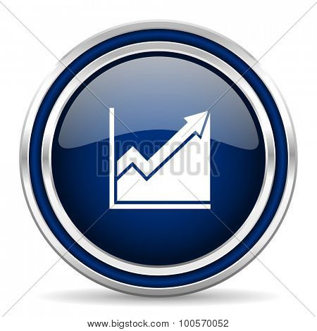 histogram blue glossy web icon modern computer design with double metallic silver border on white background with shadow for web and mobile app round internet button for business usage