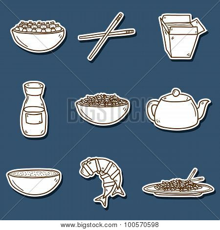 Set of cute modern hand drawn cartoon stickers on chinese food theme: rice, teapot, chinese pasta, soy sause, soup, chinese sticks, chinese dumpling, shrimp. Vector ethnic chinese cuisine concept. You can use it for your site, restaurant menu