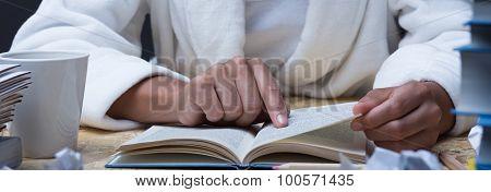 Girl Reading Academic Manual