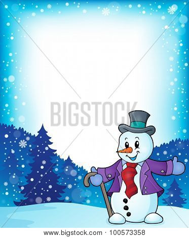 Frame with snowman topic 1 - eps10 vector illustration.