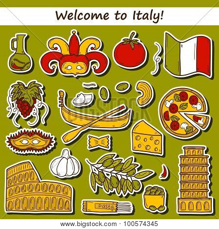 Set of cartoon stickers in hand drawn style on Italy theme: gondla, food, mask, pisa, coliseum, oliv