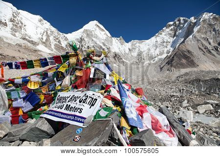 Mount Everest Base Camp With Rows Of Buddhist Prayer Flags