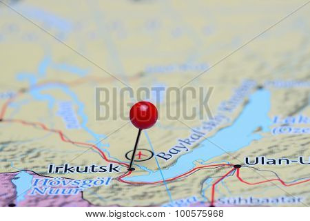 Irkutsk pinned on a map of Asia