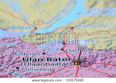 Ulan Bator pinned on a map of Asia