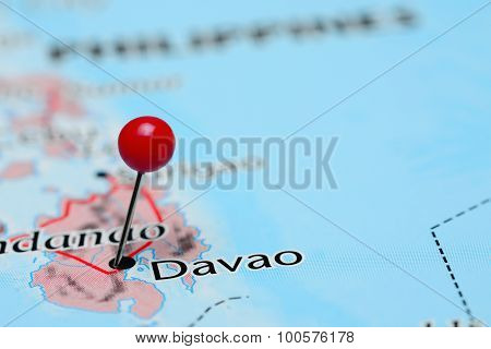 Davao pinned on a map of Asia