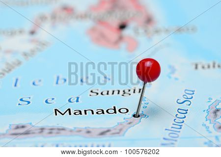 Manado pinned on a map of Asia