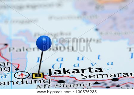 Jakarta pinned on a map of Asia