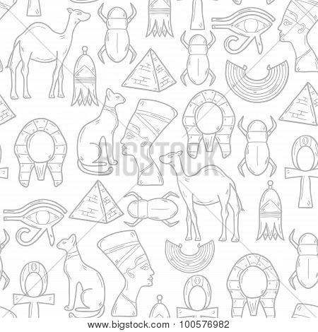 Seamless background with cartoon objects in hand drawn style on Egypt theme: pharaon, nefertiti, cam