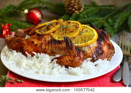Grilled Chicken Stuffed With Dried Fruits In Honey And Orange Glaze.