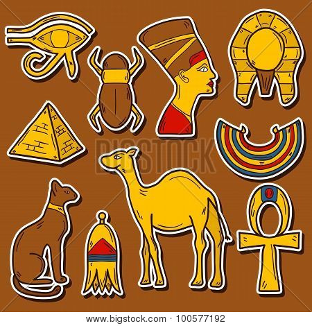 Set of cartoon stickers in hand drawn style on Egypt theme: pharaon, nefertiti, camel, pyramid, scar