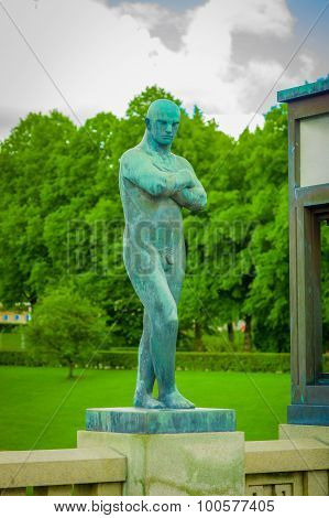 OSLO, NORWAY - 8 JULY, 2015: Various nude sculptures in different positions as part of famous Vigela