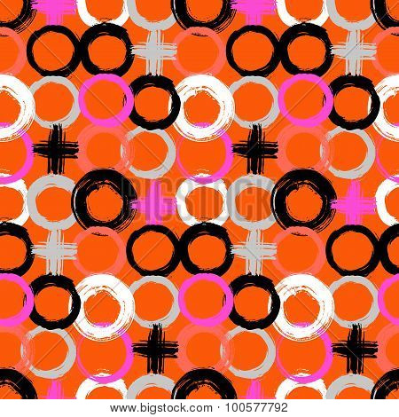 Pattern with painted circles and crosses