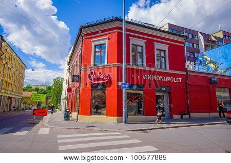 OSLO, NORWAY - 8 JULY, 2015: Charming neighbourhood Grunerlokka typical buildings and sorroundings o