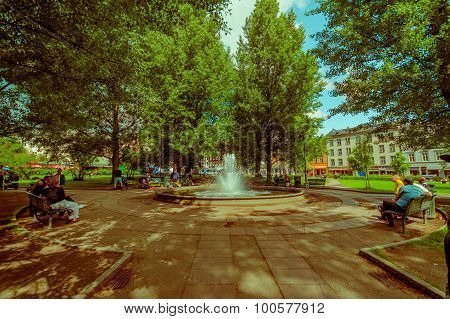OSLO, NORWAY - 8 JULY, 2015: Inside Olaf Ryes Plass, recreational park area located at charming neig