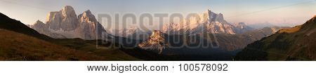 Morning Panoramic View Of Mount Civetta And Mount Pelmo