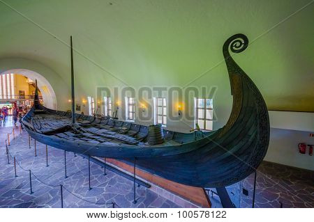 OSLO, NORWAY - 8 JULY, 2015: Beautiful preservation of Osebergskipet as presented in the viking muse