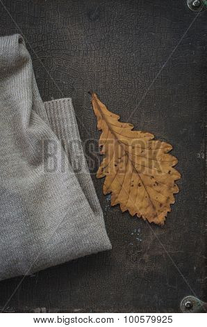 Oak Dry Leaf And Warm Knitted Cardigan