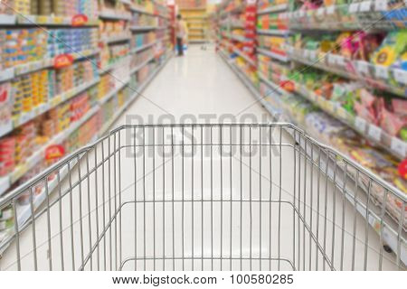 Shopping In Supermarket With Trolley