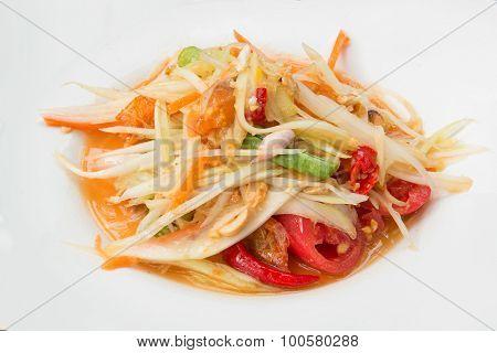 Thai Food Call Papaya Salad Or Som Tum In White Dish