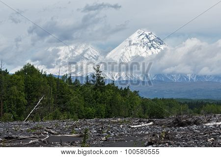 Klyuchevskoy And Kamen Volcano On A Cloudy Day. Kamchatka