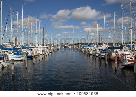 Sailing boat harbor Aalborg