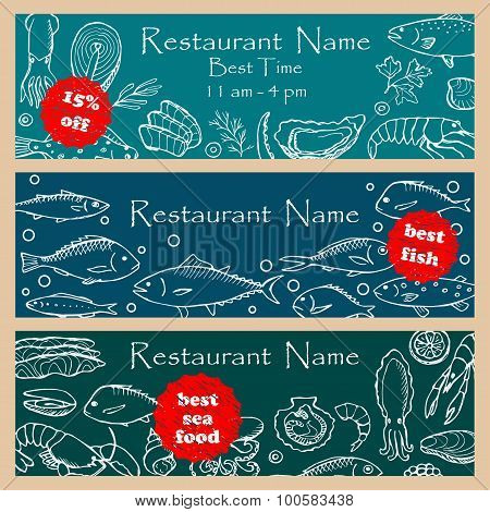 Set discount fliers for fish restaurants