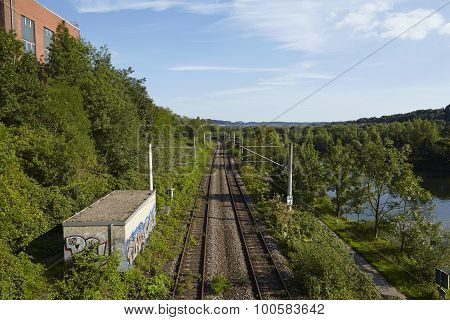 Railroad Tracks Near The Station Essen-holthausen (germany)