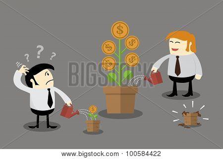 Money flower in different flowerpot size. Finance concept