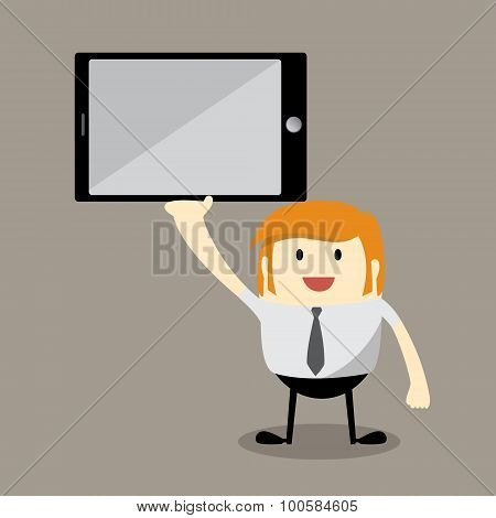 businessman cartoon character holding a big tablet PC