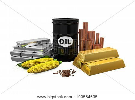 Commodities - Oil, Gold, Silver, Copper, Corn and Coffee Beans