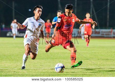 Sisaket Thailand-april 4: Kittipong Wongma Of Sisaket Fc. (orange) Shooting Ball During Thai Premier