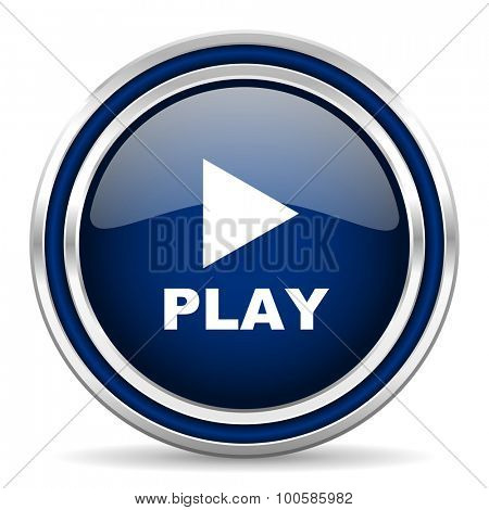 play blue glossy web icon modern computer design with double metallic silver border on white background with shadow for web and mobile app round internet button for business usage
