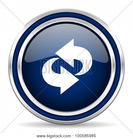 rotation blue glossy web icon modern computer design with double metallic silver border on white background with shadow for web and mobile app round internet button for business usage