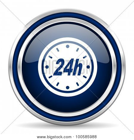 24h blue glossy web icon modern computer design with double metallic silver border on white background with shadow for web and mobile app round internet button for business usage
