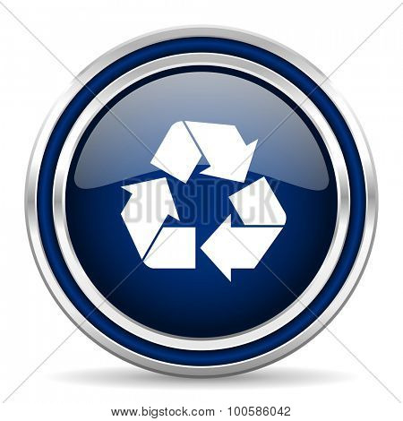 recycle blue glossy web icon modern computer design with double metallic silver border on white background with shadow for web and mobile app round internet button for business usage